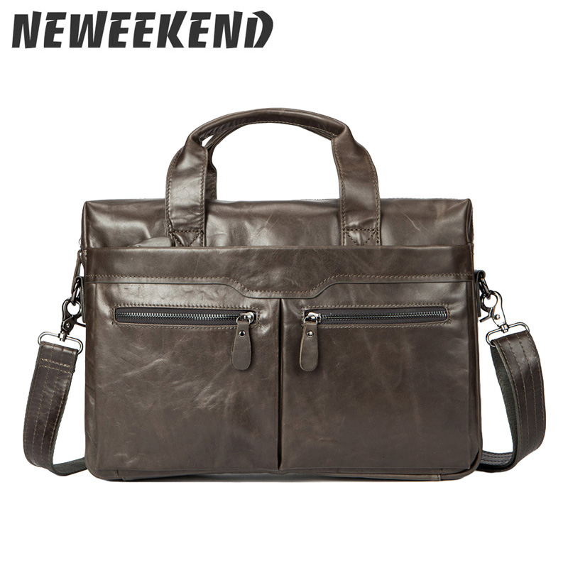 Oil Wax Men s Genuine Cowhide Leather Briefcase Cross Body Shoulder Sling Handbag Portfolio Office Business