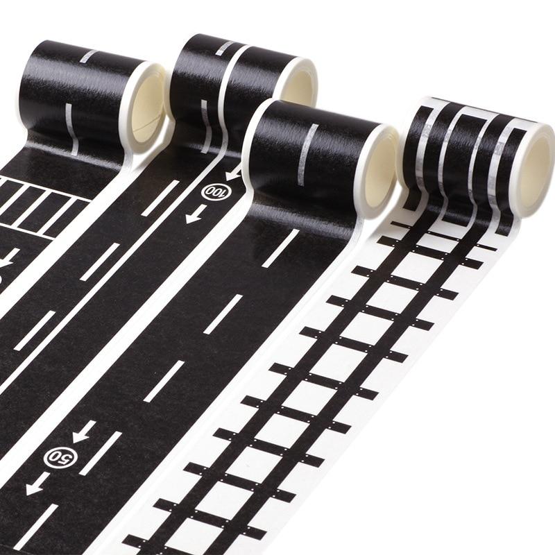 1 Pcs 5m Railway Train Curve Design Paper Washi Tape DIY Road Traffic Adhesive Tape Scrapbooking Sticker Label Masking Tape