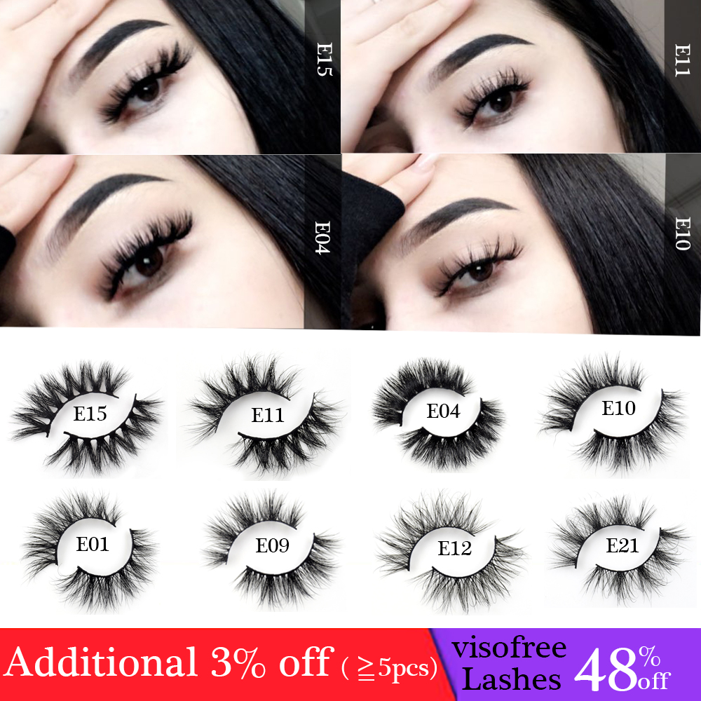 Visofree Eyelashes Natural False Eyelashes Fake Lashes Long Makeup 3D Mink Lashes Extension Eyelash Mink Eyelashes Beauty E11