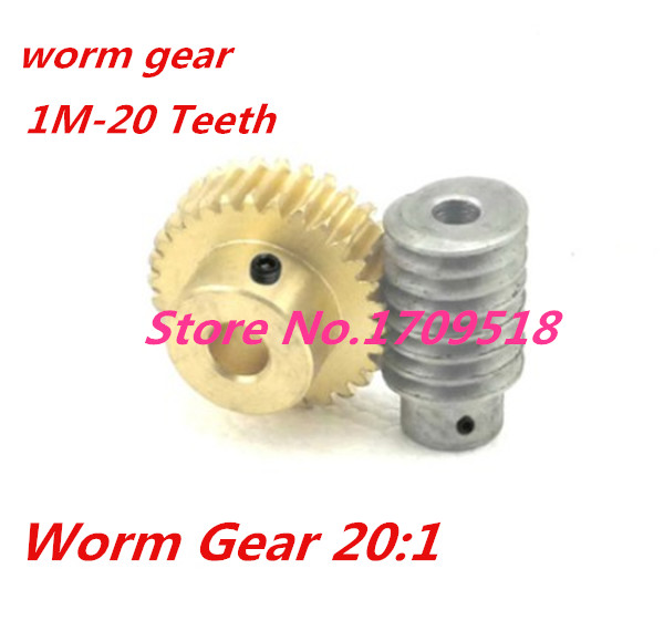 1 sets1M-20T reduction ratio:1:20 copper worm gear hole -5MM rod:5mm metal worm reducer transmission parts--D:33MM