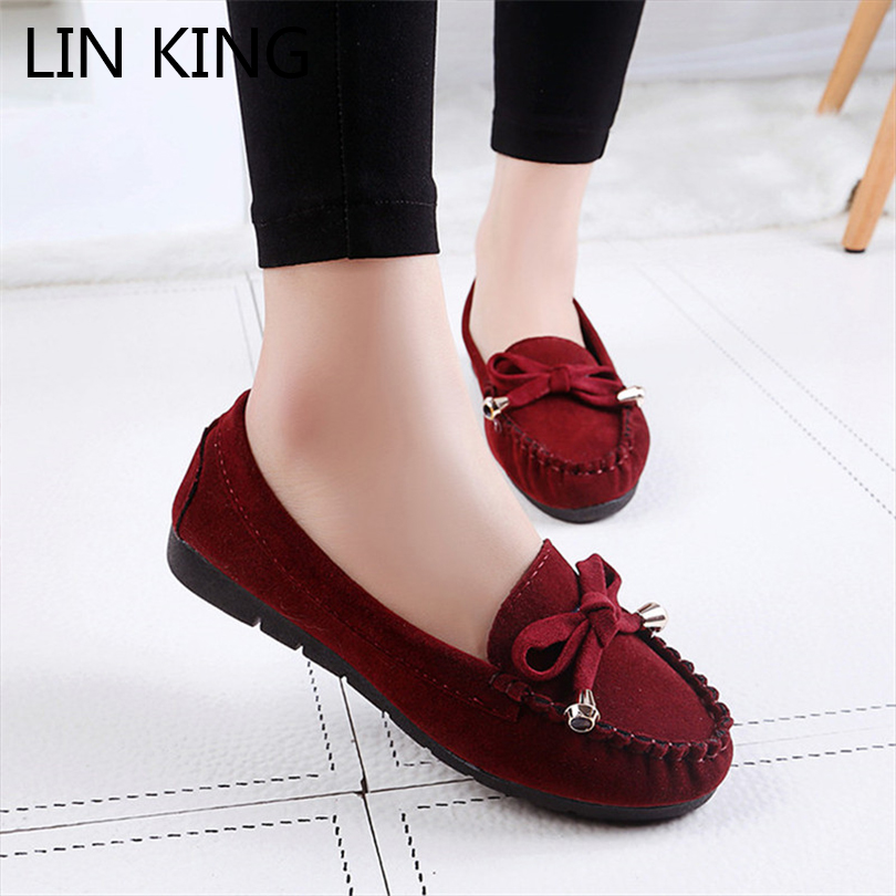 LIN KING Slip-on Round Toe For Women Flats Shoes Breathable Fashion Anti Skid Flock Pregnant Women Ankle Short Shoes Footwear lin king fashion pu leather women flats shoes round toe loafers comfortable slip on casual shoes solid breathable girl lazy shoe