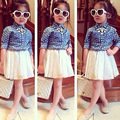 2015 New children's clothing fashion female child printed heart denim shirt clothing gauze skirt twinset princess girl clothes