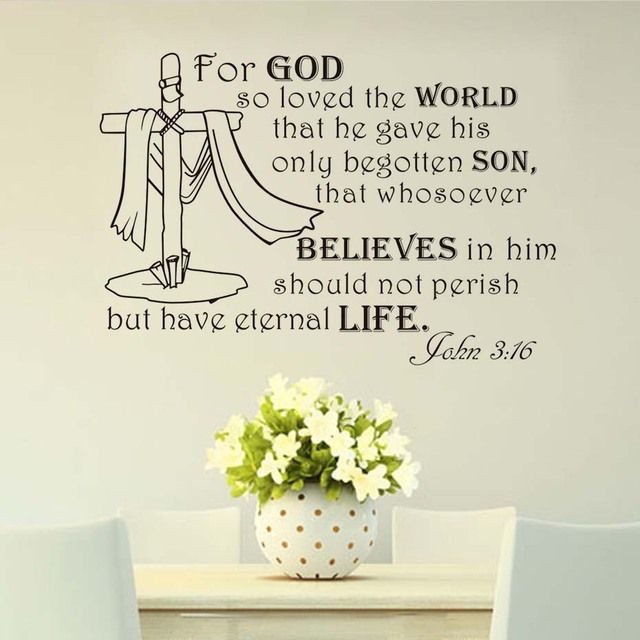For God So Loved The World Text Wall Sticker Living Room Removable