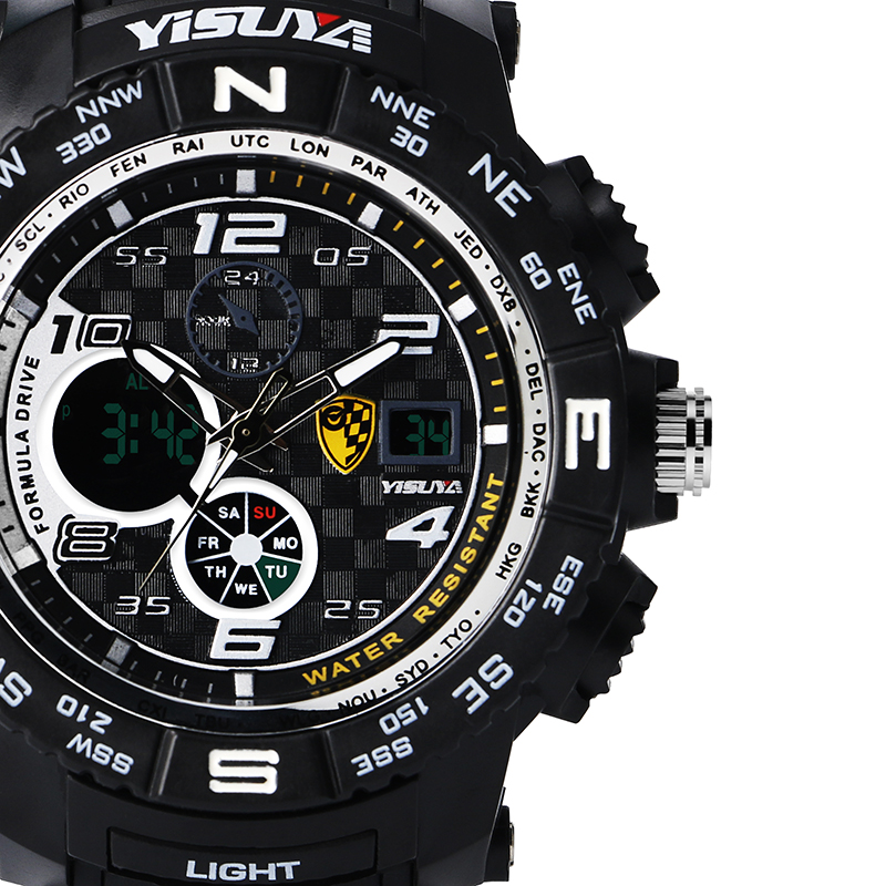 Yisuya Large Digital Stopwatch Date 3 Bar Water Resistant Sport Wrist Quartz Watch Waterproof Rubber Strap Ourdoor Male Cl In Dual Display Watches From