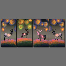 Colorful Abstract stars Christmas gift deer Flowers Xmas decoration printed Canvas Painting wall Art living room
