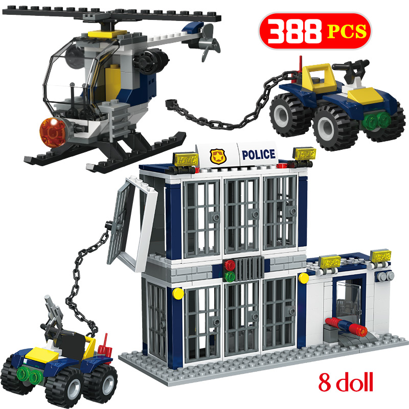 388pcs City Police Building Blocks Legoingly City Car Ultimate Prison Helicopter Figures Bricks Educational Toys For Children