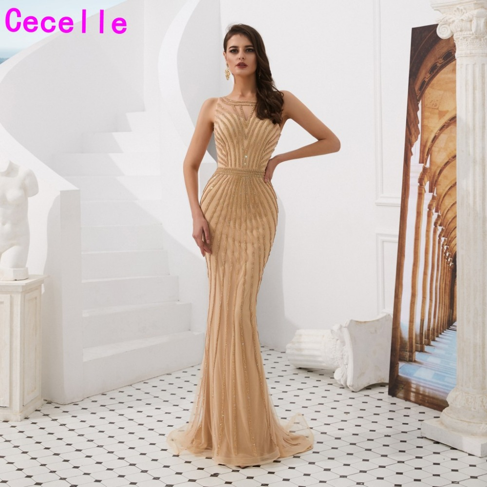 2019 New Gold Sequins Mermaid Long Formal Evening Dresses Sleeveless Women Luxury Evening Party Gowns Robe De Soiree Night Wear