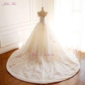 Image 3 - ジュリアクイハイエンドストラップレスインビジブルネックのウェディングドレス真珠ビーズボールガウンローブ · デ · マリアージュ
