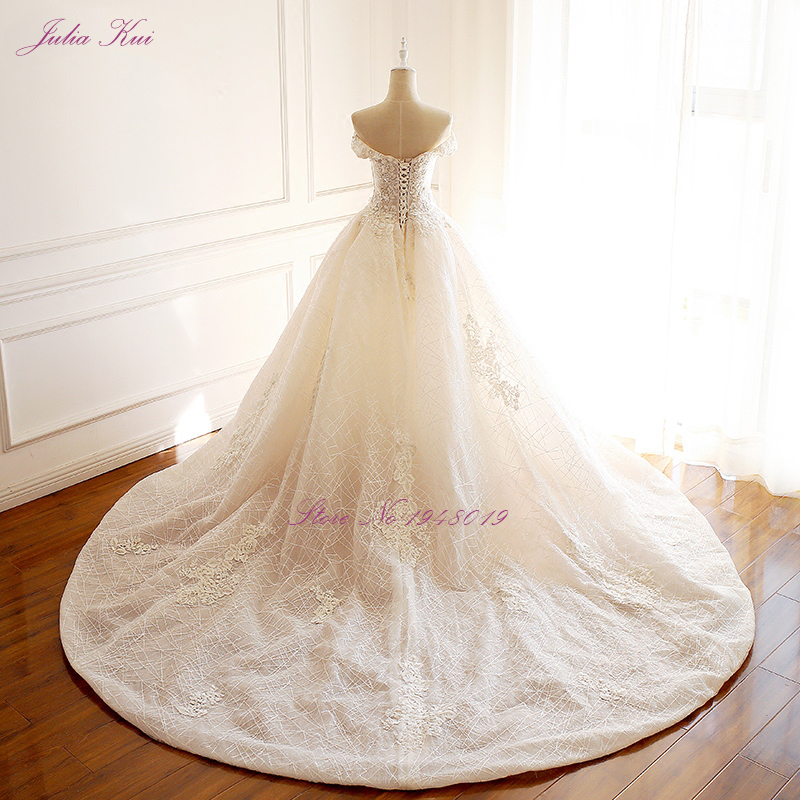 Julia Kui High-end Strapless Invisible Neckline Wedding Dresses With Pearls Beading Ball Gowns Robe de Mariage