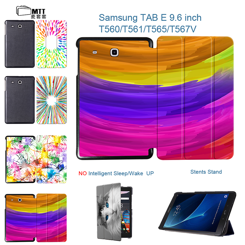 MTT Aquarelle Cover For Samsung Galaxy Tab E 9.6 Case SM-T560 SM-T561 T565 Case Slim Tablet Cover 9.6 Inch Stand Flip PU Leather bf luxury tablet case for samsung galaxy tab e 9 6 sm t560 sm t561 t560 t561 pu leather flip cute book stand cover protector