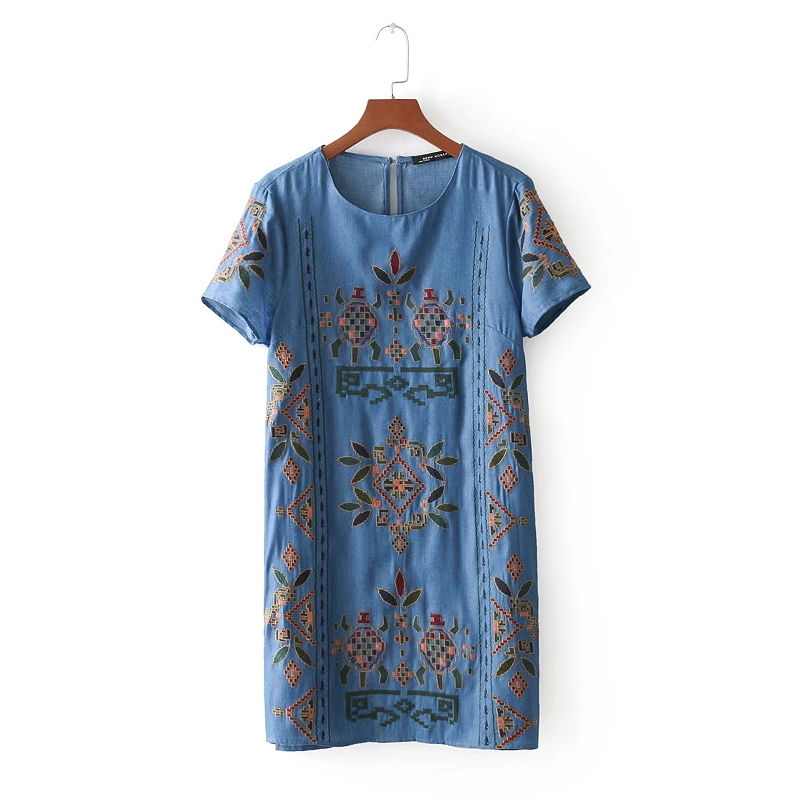 2018 women court totem flower embroidery denim mini dress elegant vestido summer short sleeve casual slim straight dress DS682
