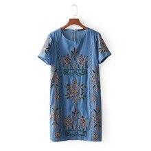 Mini robe droite en denim à manches courtes pour femmes, tenue courte élégante, avec broderie florale, totem, été, DS682, 2018