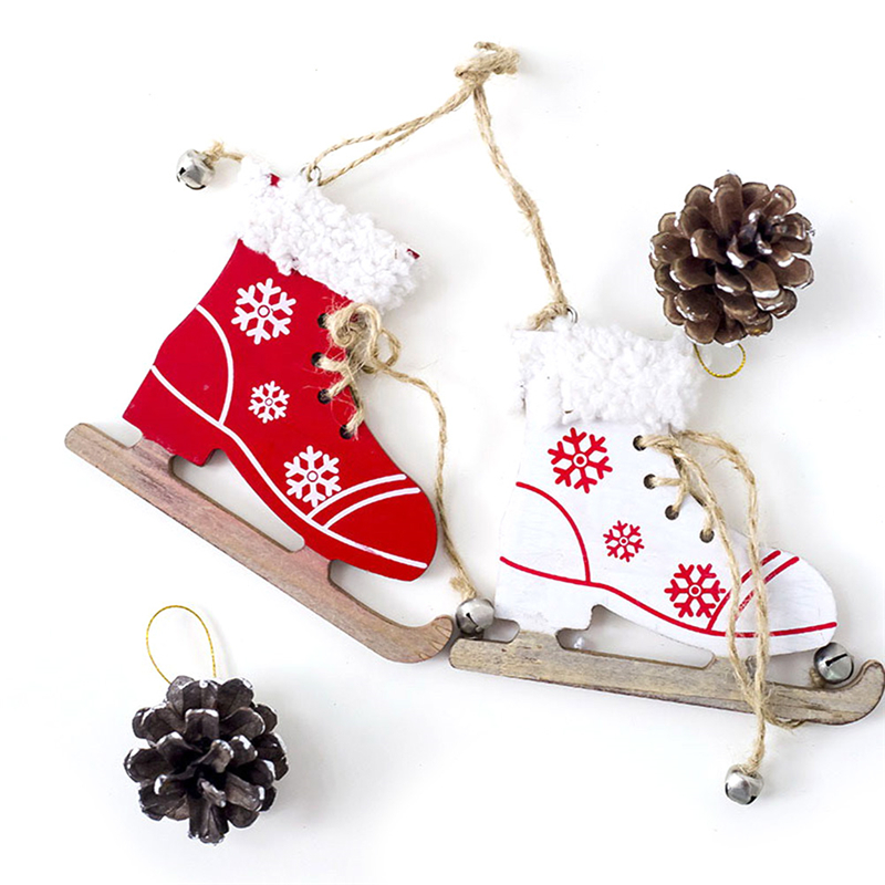 Diamond 1pc Snowflake Pattern Wooden Sleds Boots Christmas Xmas Tree Hanging Pendant Random Color