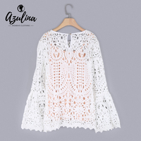 AZULINA White Lace Women Blouse Hollow Out Crochet Flare Sleeve 2017 Summer Autumn Casual Female Blouses