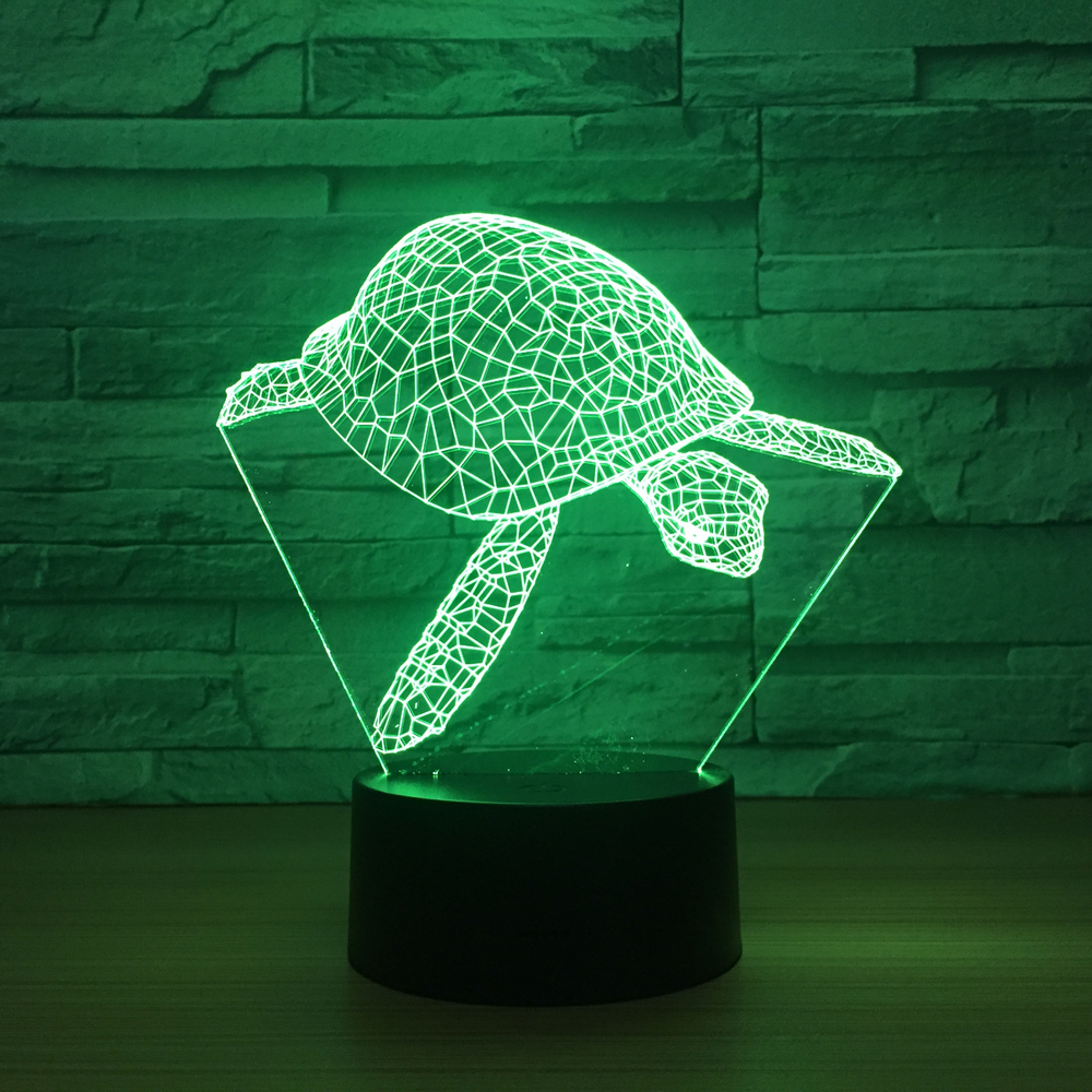 The new turtle 3D colorful touch led visual table lamp to send family friends and classmates gifts Touch USB 3D night light