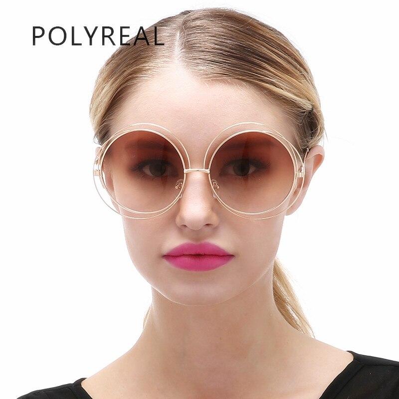 6b5a330bc POLYREAL Oversized Rodada Óculos De Sol Das Mulheres Do Vintage Da Moda Tamanho  Grande Círculo Espelho Óculos de Sol Homens Steampunk Superstar para ...