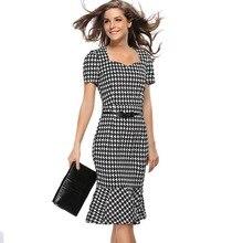 EUR & US. Hot Style Women Slim Summer Mermaid Dress Plaid Pattern Strapless Neck Short Sleeves Mermaid Casual & Work Dresses