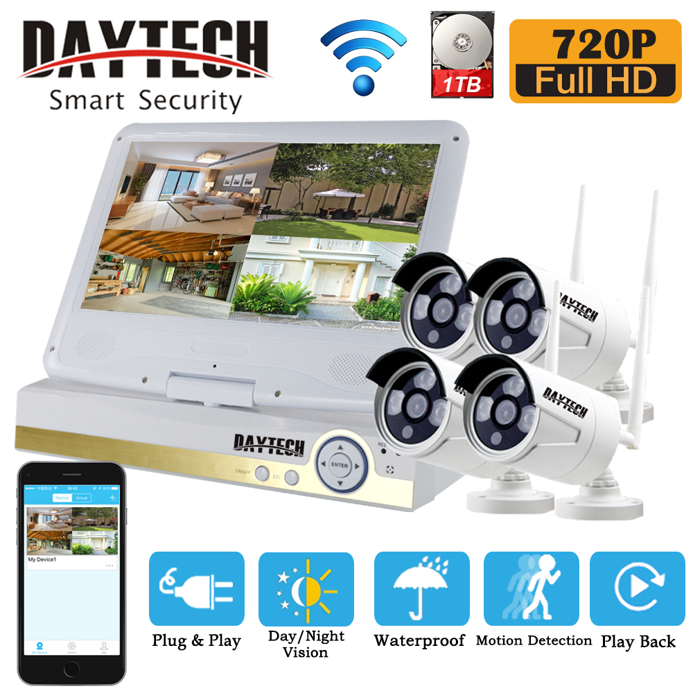 цена DAYTECH Security Camera System Wireless IP WiFi NVR Surveillance Kit 4CH 720P CCTV 1TB HDD IR Night Vision 10.1