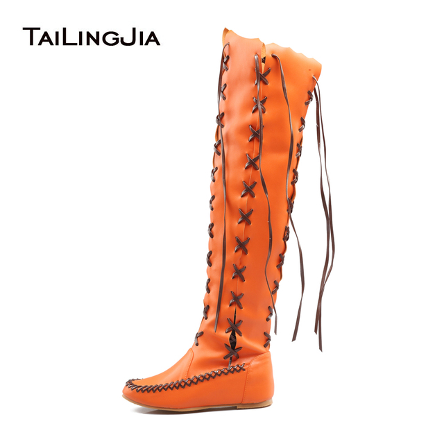 06b817f7b48 2017 New Fashion Spring Autumn Casual Round Toe Lace Up Zipper Flat Over  Knee Boots Customize Large Size Women Shoes Hot Sale