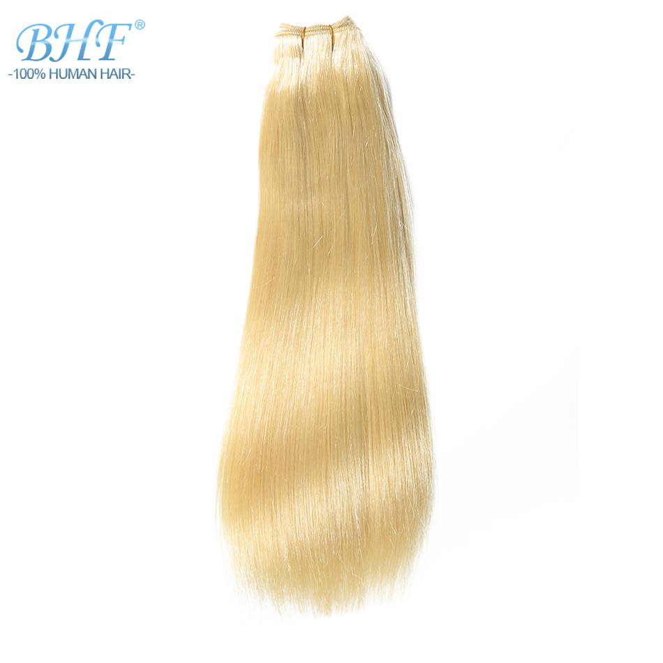 BHF Straight European Remy Human Hair Weft Double Drawn Platinum Blond Hair Weave Extensions 18 to