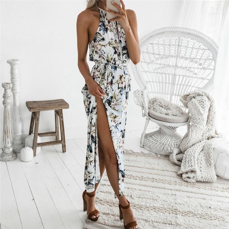 Fashion summer dress 2018 beach dress Womens Summer Print Boho Long Maxi Evening Party sexy Floral Dress vestidos robe J08#N
