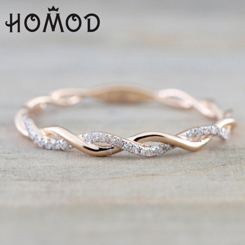 Hot Sale 2019 Round Rings For Women Thin Rose Gold Color Twist Rope Stacking Engagement Wedding Rings Dropshipping