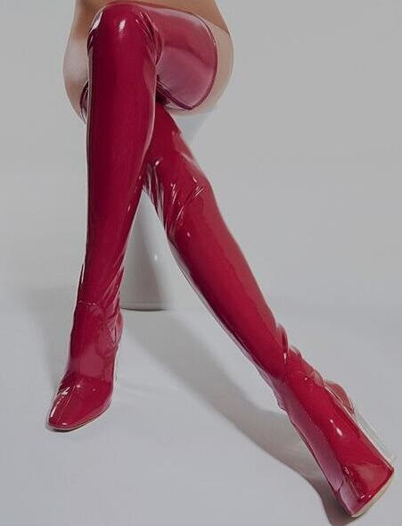 Sexy Red Patent Leather Over Knee Boots Womens PVC Clear Transparent Chunky Heels Thigh High Stiletto Boots Pointed Toe Boots цена