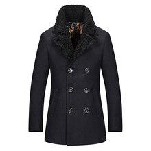 Neue Regelmäßige Länge Herren Pea Coat Slim Fit Dicke Warme Männer Wollmantel Winter