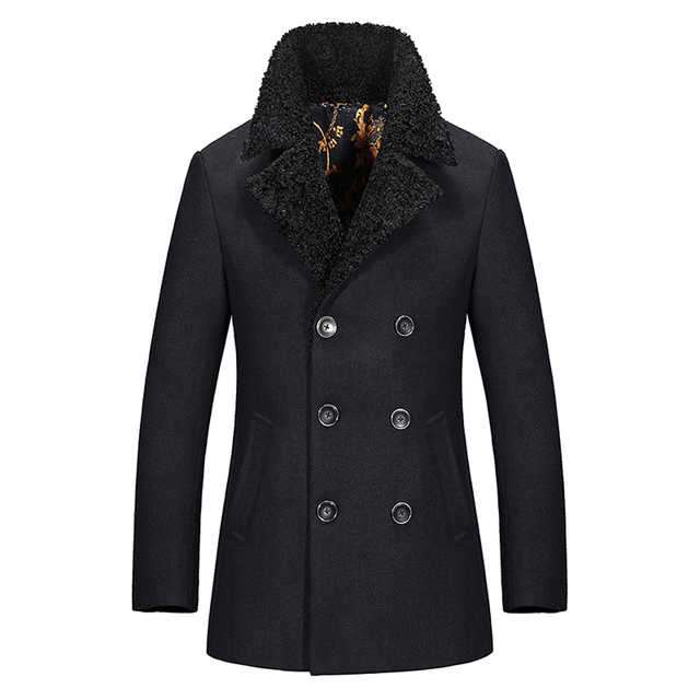 New Regular Length Mens Pea Coat Slim Fit Thick Warm Men Wool Coat Winter
