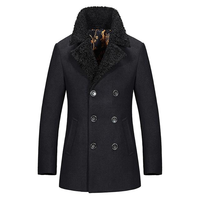 Novo Comprimento Regular Brasão Pea Mens Slim Fit Casaco De Lã Homens Inverno Quente Grosso
