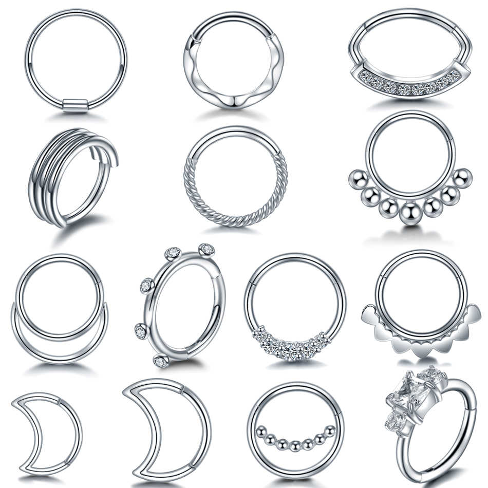 1PC Steel Hinged Segment Nose Septum Rings Gem Ear Helix Clicker Cartilage Tragus Hoop Daith Rook Piercings Fashion Body Jewelry