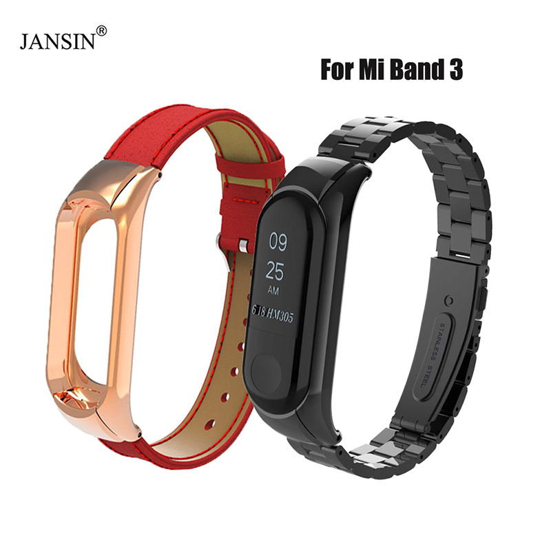 Mi Band 3 Strap Stainless Steel band + Genuine leather band For Original Xiaomi Mi Band 3 Bracelet MiBand 3 Silicone Wristband strap