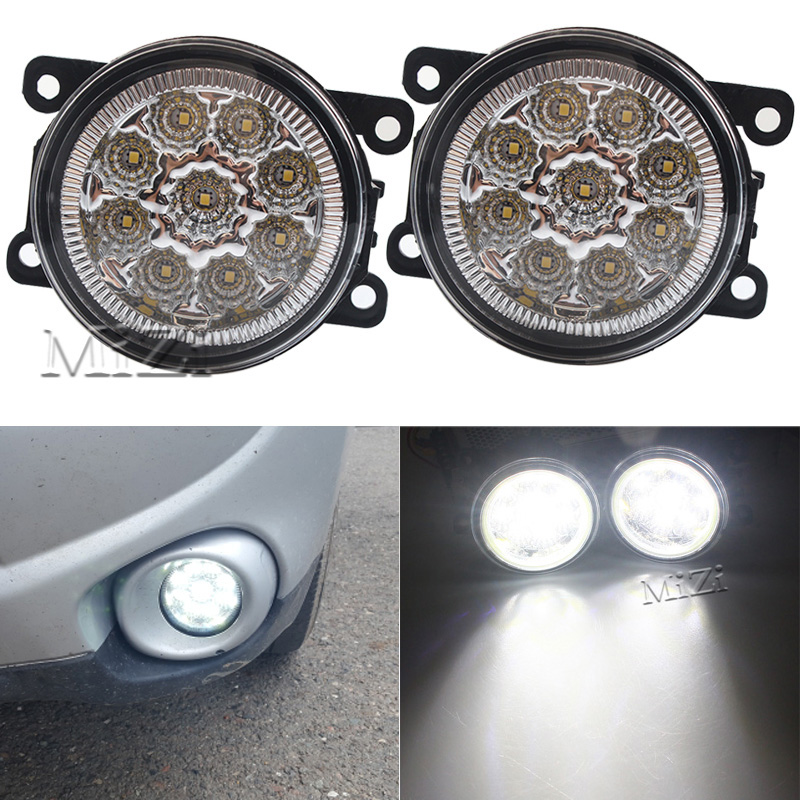 1 Pair Fog Lamps 9 LED Lights DRL Lighting For Renault DUSTER LATITUDE LOGAN Laguna MEGANE 2/3/CC Saloon LS LM0 LM1 Car-styling 2 pcs set car styling 6000k ccc 12v 55w drl fog lamps lighting for renault megane 2 estate 2002 2015 35500 63j02