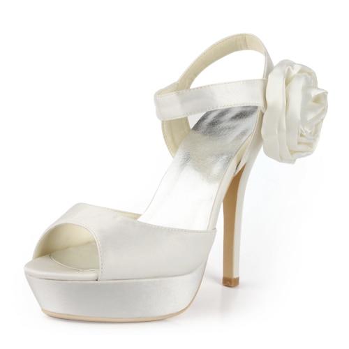 ФОТО Fashion Sandals EP11088-PF White Open Toe Stiletto Heel Platform  Pumps Satin Flower Evening Wedding Bridal Shoes