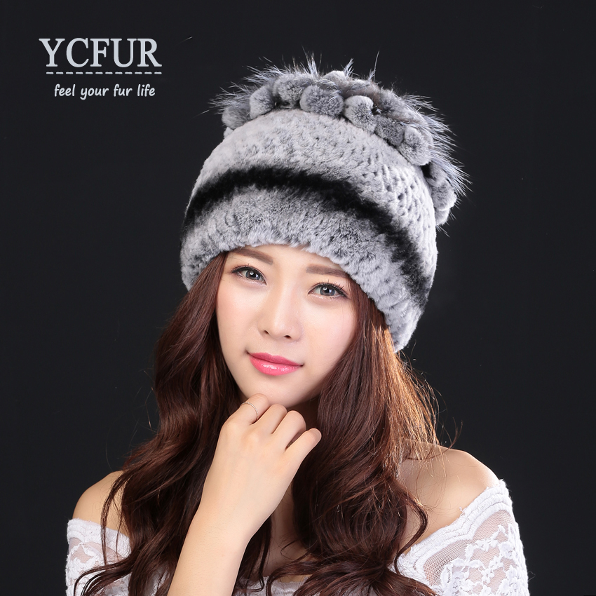 YCFUR New Arrival 2016 Winter Hats For Women Natural Rex Rabbit Fur Beanies With Fox Fur Braid Hat Female