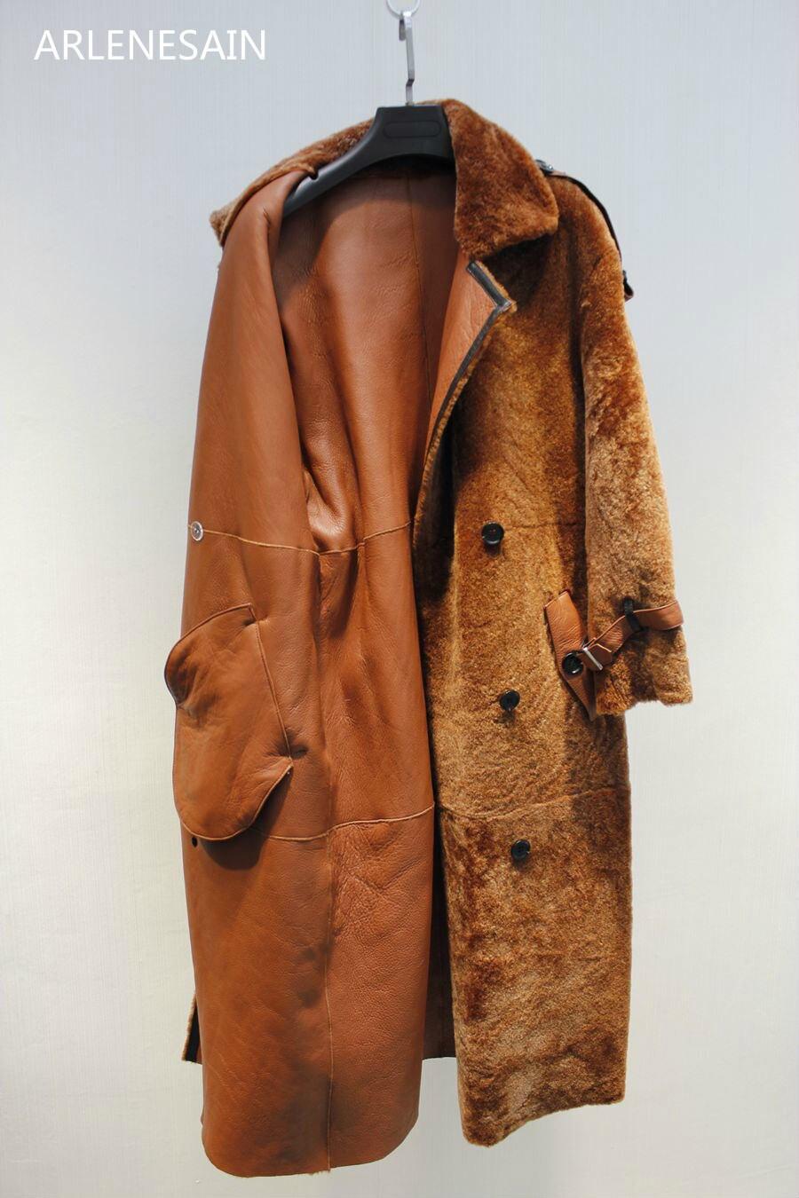 Fourrure Rouge Manteau Mouton Personnalisé Corail vert Arlenesain Femmes kaki Long Importé Nouveau 2018 Lâche Mode noir De wnXOq