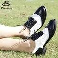 Couro genuíno sapatos baixos das mulheres tamanho EUA 11 handmade preto branco marrom 2017 estilo Britânico do vintage sapatos oxford para as mulheres pele