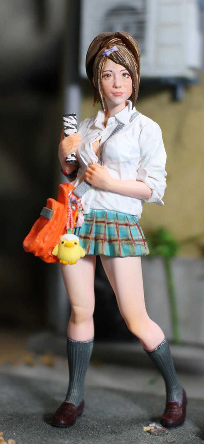 Unpainted 1/20 Resin Figure Japanese Girl With Cat Model