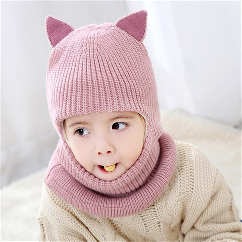 03a53feab4b Hot Sale Cat Ear Thick Autumn Winter Children Hats Toddler Kids Beanies Cap  Girls Boys Warm Wool Hooded Hat Baby Scarves Caps-in Skullies   Beanies  from ...