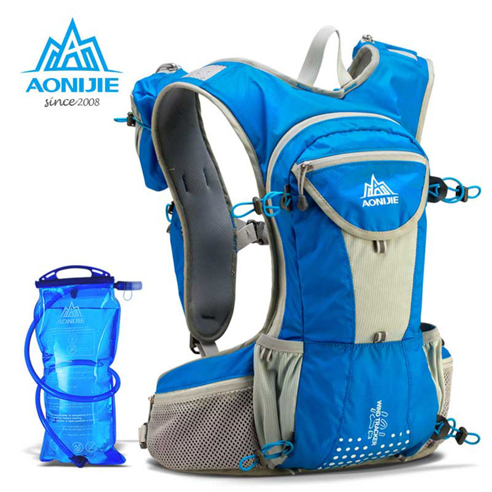 AONIJIE 12L Running Nylon Backpack Outdoor Lightweight Hydration Water Pack Sport Bag Climbing Cycling Hiking with 2L Water Bag aonijie outdoor water bag 1 5l 2l 3l for camping hiking climbing cycling running foldable peva sport hydration bladder