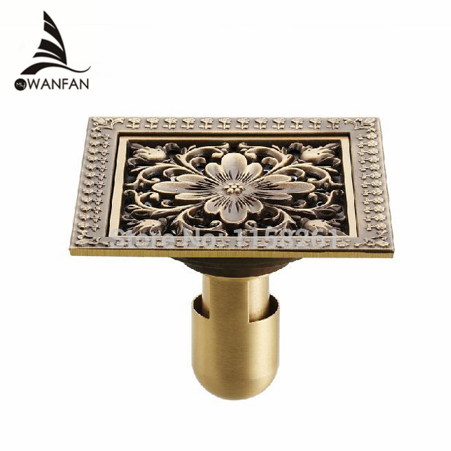 Drains 12*12cm Antique Brass Shower Floor Drain Bathroom Deodorant Euro Square Floor Drain Strainer Cover Grate Waste HJ 8702S