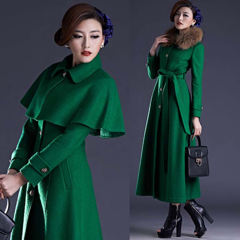 Fall Winter Womens Green Wine Red Black Cloak Long Sleeve Wool ...