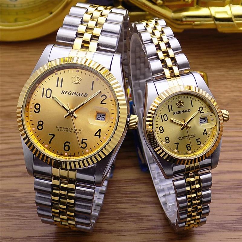 Top Brand REGINALD Watch 18k Yellow Gold Woman Man Lovers Dress Fluted Bezel Diamond Dial Full Stainless Steel Luminous Clock