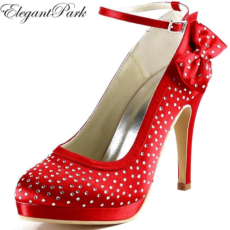 Women Red High Heel Shoes Ankle Strap Platform Pumps Rhinestones Satin Bridesmaid Prom Dress Wedding Shoes EP2012-PF  bride shoe