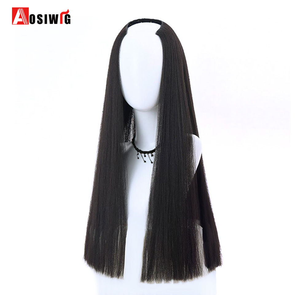 AOSIWIG Synthetic Half Wig Long Straight For Female Party Halloween High Temperature Fib ...