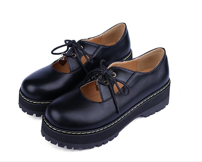 Black Leather Shoes Children Kids Girls Spring Thick Harajuku Retro Round Toe Flat Shoe Preppy Style Casual Women Shoes