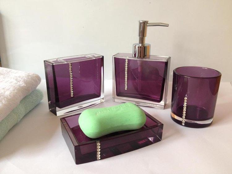 continental acrylic diamond bathroom sets purple hotel bathroom wash fourpiece set tumbler toothbrush holder
