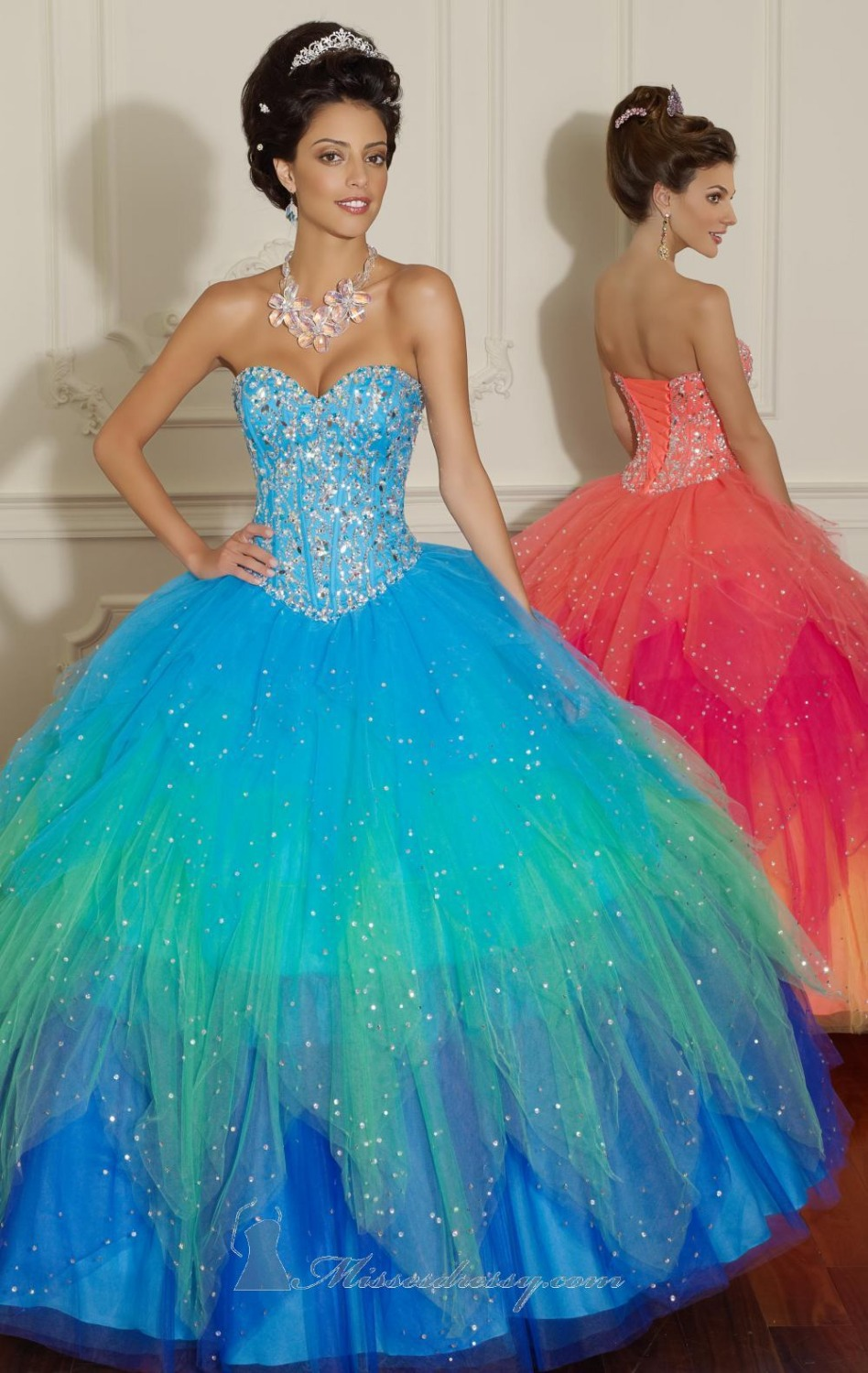 Beaded Pageant Gowns Sweet 16 Blues Quinceanera Dresses