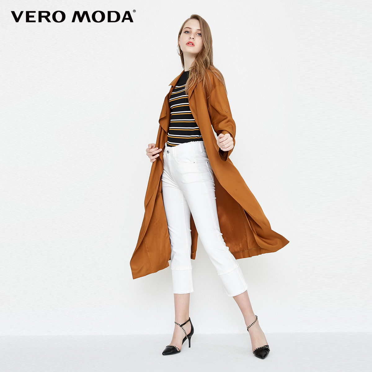 Vero Moda Two way Sleeves Lapel Medium Length Wind Coat  318121536-in Trench from Women's Clothing    2