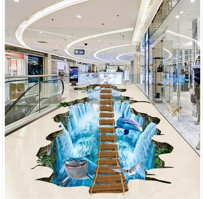 Waterfall  wood  ladder Custom Photo self-adhesive 3D floor 3d flooring bathroom PVC waterproof floor